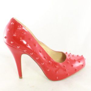 SHOE DAZZLE Studded Red Pump Heels Like New